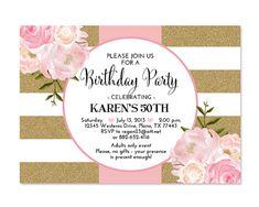 Pink Gold Glitter Bridal Shower Invitation by SunshinePrintables