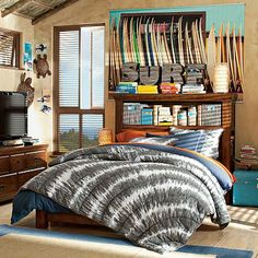 Jack has chosen the navy blue tie dye bedding for his new surfer room. I already bought the orange sheeting for underneath.