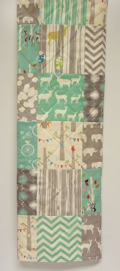 Modern-Baby Quilt-Organic Rustic Baby Boy Bedding-Birch Fabric-Chevron-Gray-Grey-Aqua-Woodland Animal-Elk-Elephant-Deer Baby Blanket