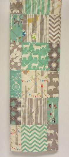 Modern-Baby Quilt-Organic Rustic Baby Boy Bedding-Birch Fabric-Chevron-Gray-Grey-Aqua-Woodland Animal-Elk-Elephant-Deer Baby Blanket