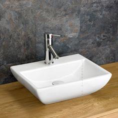 Rectangular Forli Counter Sink x Bathroom Basin Clickbasin Cloakroom Sink, Bathroom Sink Design, Small Bathroom Sinks, Small Sink, Boho Bathroom, Bathroom Sink Faucets, Bathroom Colors, Bathroom Ideas, Dream Bathrooms