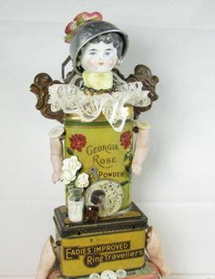 "Doll ""Bath and Beauty"" Assemblage Art Angel."