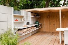 outdoors kitchen Outdoor Living Areas, Outdoor Rooms, Outdoor Dining, Outdoor Decor, Outdoor Island, Dining Area, Modular Outdoor Kitchens, Smokehouse Bbq, Barn Storage