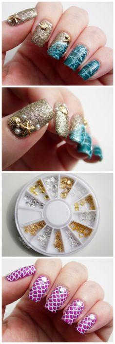 $3.10 80Pcs/box Mini Shell Starfish Nail Studs Gold Silver 3D Nail Decoration For UV Gel Nail Art - BornPrettyStore.com