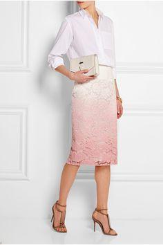 Burberry ProrsumDip-dyed lace skirt & Acrylic-paneled suede sandals, VICTORIA BECKHAM DENIM Oversized cotton shirt, VICTORIA BECKHAM Textured-leather mini satchel|NET-A-PORTER.COM
