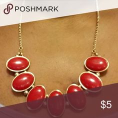 Red goldtone statement necklace Red goldtone statement necklace Jewelry Necklaces