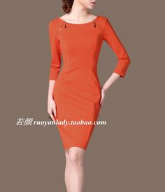 2015尘颜春装新款OL通勤优雅气质圆领橘子红七分袖修身连衣裙 Q78-淘宝网