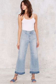 A Gold E June Crop High-Rise Flare Jeans - Light Blue | Shop Clothes at Nasty Gal!