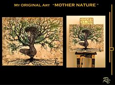 Original, painting, Woman of the forest, mother nature