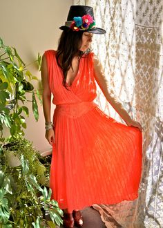 Vintage coral dress from Prism Of Threads on Etsy