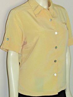 TravelSmith Soft Yellow Shirt MP Medium Petite Short Sleeve Travel Smith UPF50…