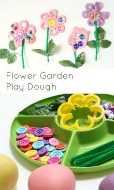 Flower Garden Play Dough for Kids - Kids crafts