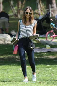 Jessica Alba in Jeans at a park