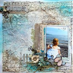 Layout: Summer *Once Upon A Sketch* Beach Scrapbook Layouts, Scrapbook Sketches, Baby Scrapbook, Travel Scrapbook, Scrapbook Albums, Scrapbooking Layouts, Scrapbook Cards, Mixed Media Canvas, Mixed Media Art