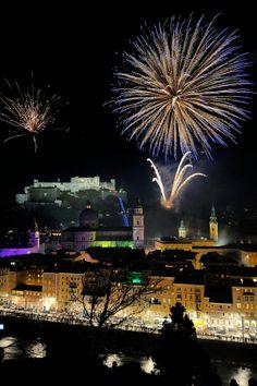 Fireworks over Salzburg, Austria