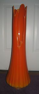 """MID-CENTURY LARGE 30"""" VIKING SWUNG SLAG FLOOR VASE $200 MID CENTURY VIKING SLAG GLASS VASE    IS IN EXCELLENT CONDITION    STANDS APPROX. 30"""" TALL AND WIDEST PART OF BASE IS APPROX. 9 1/2""""    IS AN ORANGE SLAG VASE"""