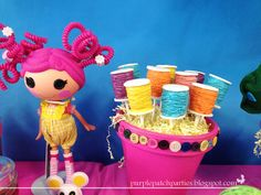 Spool of thread cake pops at a Lalaloopsy Party #lalaloopsy #partycakepops