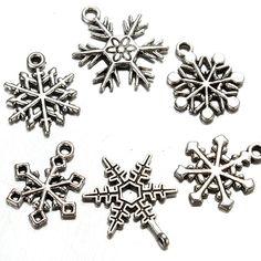 50X Mixed Tibetian Sliver Christmas Snowflake Charm Pendants Necklace Chain