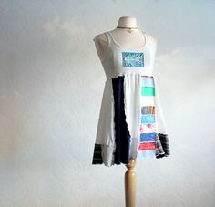 Long Tank Top Upcycled Clothing Patchwork by BrokenGhostClothing,