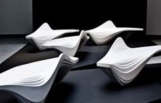 Serac Bench, designed by Zaha Hadid for street furniture brand is made from a resin and quartz composite that gives it a sparkling white colour.this is as much sculpture as it is furniture. Arquitetos Zaha Hadid, Architectes Zaha Hadid, Zaha Hadid Architects, Zaha Hadid Design, Urban Furniture, Street Furniture, Furniture Design, Furniture Removal, Retro Furniture