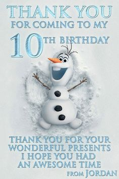 Disney Frozen Birthday party Thank You Card card digital file girl boy Olaf DIY