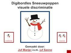 digibordles sneeuwpoppen. Oefenen van de visuele discriminatie en geheugen