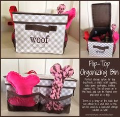 Another great use for the FLIP-TOP ORGANIZING BIN. Keep pet supplies handy in the car or at home!