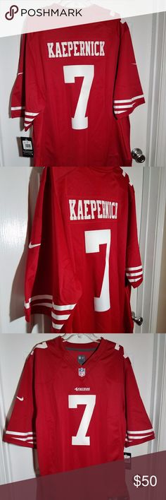 """Nike Colin Kaepernick 49ers #7 Home Jersey Men 2XL Item: This is a New With Tags Nike Colin Kaepernick  49ers #7 Home Authentic On Field Jersey Men's. Size: XXL 2XL pit to pit laying flat 23.5"""" length 32.5"""" 468937 691 Nike Shirts Tees - Short Sleeve"""