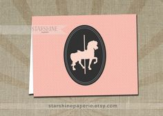 Carousel Horse Card INSTANT DOWNLOAD Printable Non-Editable A2 Folded Fill-In Blank Pink Gray Notecard Birthday Kids Stationery - Tricia