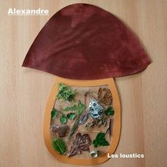 "Fall mushroom craft. Use contact paper on stem and ""stick"" fall items, leaves, sticks, grass, moss etc."