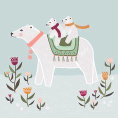 Polar bear - children and winter illustration by Laurence Lavallée aka Flo Bear Drawing, Winter Illustration, Arctic Circle, Bear Art, Pattern Art, Polar Bear, Artsy Fartsy, Baby Animals, Dinosaur Stuffed Animal