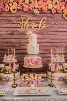 Sweet Table Details from a Pink + Gold Birthday Party via Kara's Party Ideas… Gold First Birthday, 18th Birthday Party, Sweet 16 Birthday, Girl Birthday, Sweet 16 Decorations, Birthday Decorations, Wedding Decorations, Sweet Sixteen Parties, Pink And Gold