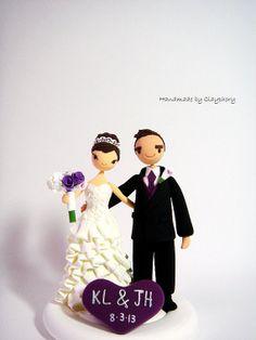 Cute couple customized wedding cake by Clayphory on Etsy, $130.00