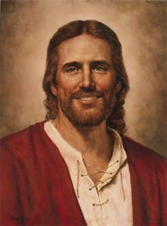 Jesus Christ painted by Del Parsons. You don't see many smiling pictures of Christ. And somehow I also think of him as one of the happiest guys I know can't wait to meet him :) Jesus Our Savior, Jesus Is Lord, Jesus Smiling, Lds Memes, Lds Quotes, Pictures Of Christ, Lds Art, Religion Catolica, Jesus Christus