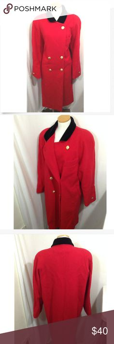 LONDON FOG WOMENS WOOL RED COAT TRENCH 14P FOG BY LONDON FOG WOMENS 100% PURE WOOL RED COAT TRENCH DOUBLE BREASTED 14P  Excellent Condition, Measurements on a diagram in the pictures! London Fog Jackets & Coats Trench Coats