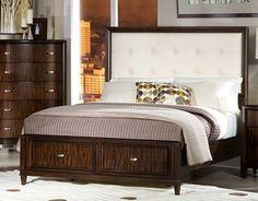 Wood Frames Headboard California King Bed In Dark Cherry Finish