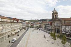 Guimarães - Portuguese cobblestone pavement with blueprints design.