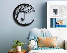 Etsy :: Your place to buy and sell all things handmade Modern Wall Decor, Metal Wall Decor, Metal Wall Art, Wood Art, Roman Clock, Metal Clock, Inspirational Wall Art, Living Room Art, Laser Art