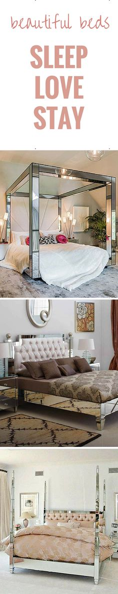Beautiful ways in which to sleep... The Mirrored Bed Co. make every luxury mirrored bed for you and to your specific order from modernist cubes to more traditional styles!