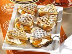 Peaches and Cream Heart Shaped Waffles