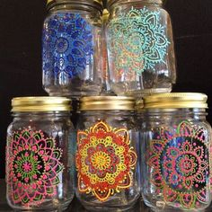 New mason jars ready to go henna hennaonhudson mehndi… Wine Bottle Crafts, Mason Jar Crafts, Bottle Painting, Bottle Art, Pot Mason, Diy And Crafts, Arts And Crafts, Jar Art, Dot Art Painting