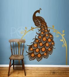 Tier Wandtattoo Paradiesvogel Peacock Wand Aufkleber