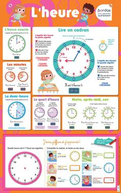 apprendre l'heure French Flashcards, French Worksheets, French Teaching Resources, Teaching French, French Language Lessons, French Lessons, French Education, Kids Education, Education Logo