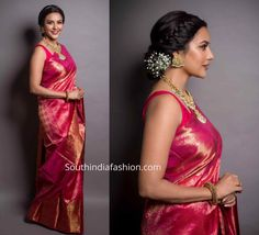 Priya Anand in a Kanjeevaram saree - South India FashionYou are in the right place about Women Blouse pattern Here we offer you the most beautiful pictures about the Women Blouse drawing you are looking for. When you examine the Priya Anand in a Ka Dress Indian Style, Indian Dresses, Indian Outfits, Hair Style For Saree, Indian Wear, Bridal Sarees South Indian, Indian Sarees, Indian Wedding Sarees, Kerala Saree