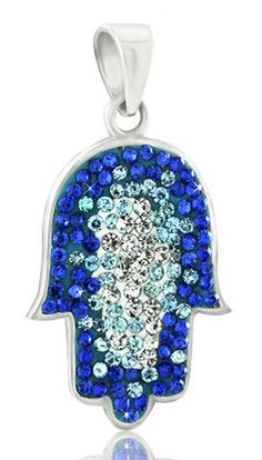 STERLING SILVER HAMSA PENDANT WITH BLUE AND WHITE CRYSTALS #jewelry #jewish #judaica #pendant #sterlingsilver #hamsa #beautiful #crystals