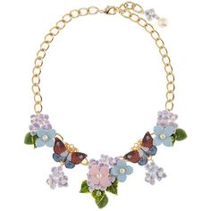 Dolce & Gabbana Butterfly and Hydrangea Necklace (€1.295) ❤ liked on Polyvore featuring jewelry, necklaces, flower necklace, monarch butterfly necklace, statement necklace, dolce gabbana jewelry and bib statement necklaces
