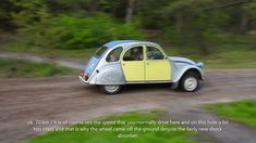 Citroën 2cv suspension test,70 km/h on a wet dirt road one wheel of the ...