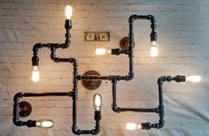 Black Pipe Industrial Modern Wall or by DragonflyDesignPa Black Chandelier, Black Lamps, Black Lights, Black Ceiling, Chandelier Lighting, Ceiling Fixtures, Light Fixtures, Ceiling Lights, Pipe Lighting