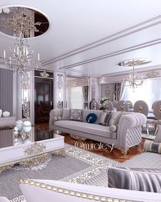 Nadire Atas on Elegant Living Rooms Customer Project✔️ Fancy Living Rooms, Living Room Sofa Design, Glam Living Room, Elegant Living Room, Living Room Designs, Living Room Decor, Decor Room, Mansion Interior, Luxury Homes Interior