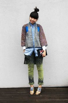 Susie Lau: Brocade Country Miao tribe batik robe and Mangmoom clutch worn with Monki denim shirt, Issey Miyake trousers and Peter Pilotto x Nicholas Kirkwood shoes > this makes me happy.